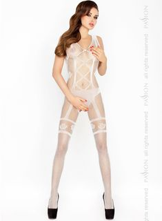 Изысканный костюм-сетка с имитацией комплекта нижнего белья