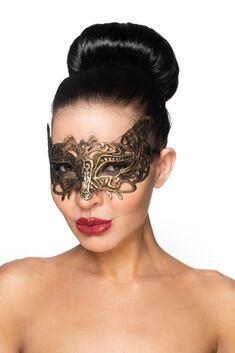 """Золотистая карнавальная маска """"Беллатрикс"""""""