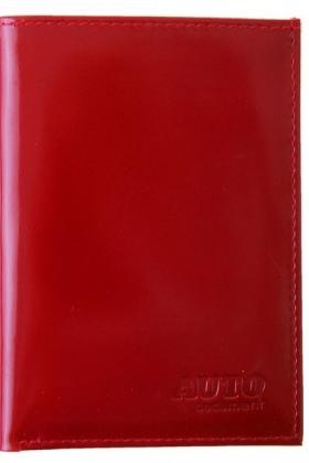 Красная обложка для автодокументов натуральная кожа