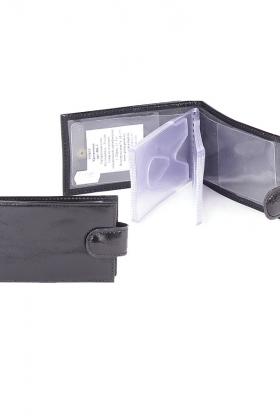 Кредитница черная с хлястиком  натуральная кожа